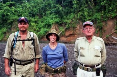 Chris Billings, Claire Bowers and David Billings in the jungles of East New Britain.